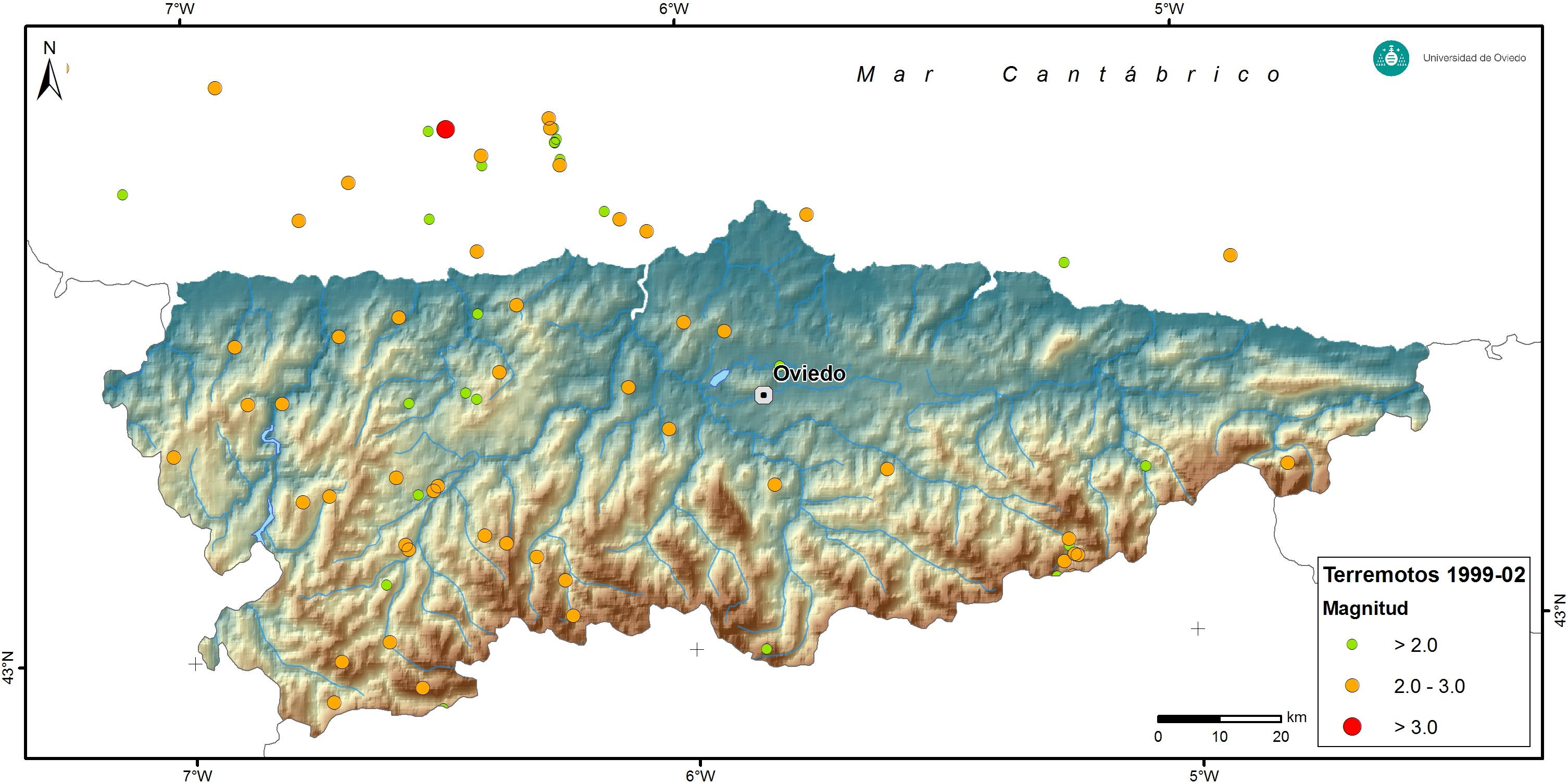 Asturias Seismicity Map