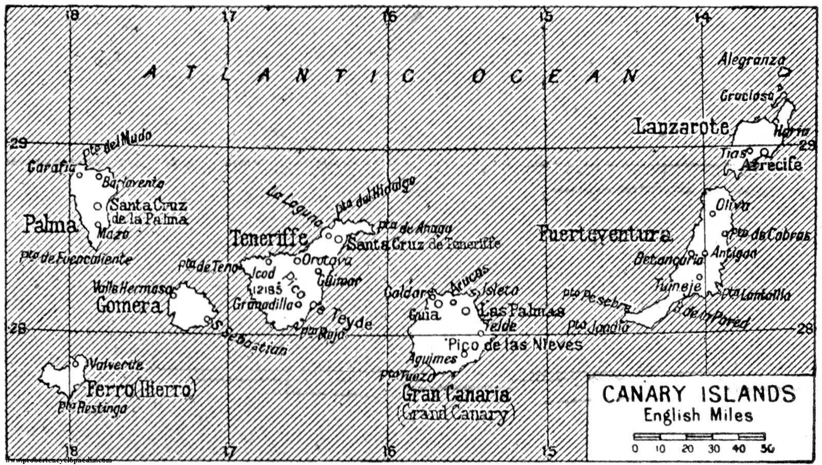 Mapa de las Islas Canarias 1922