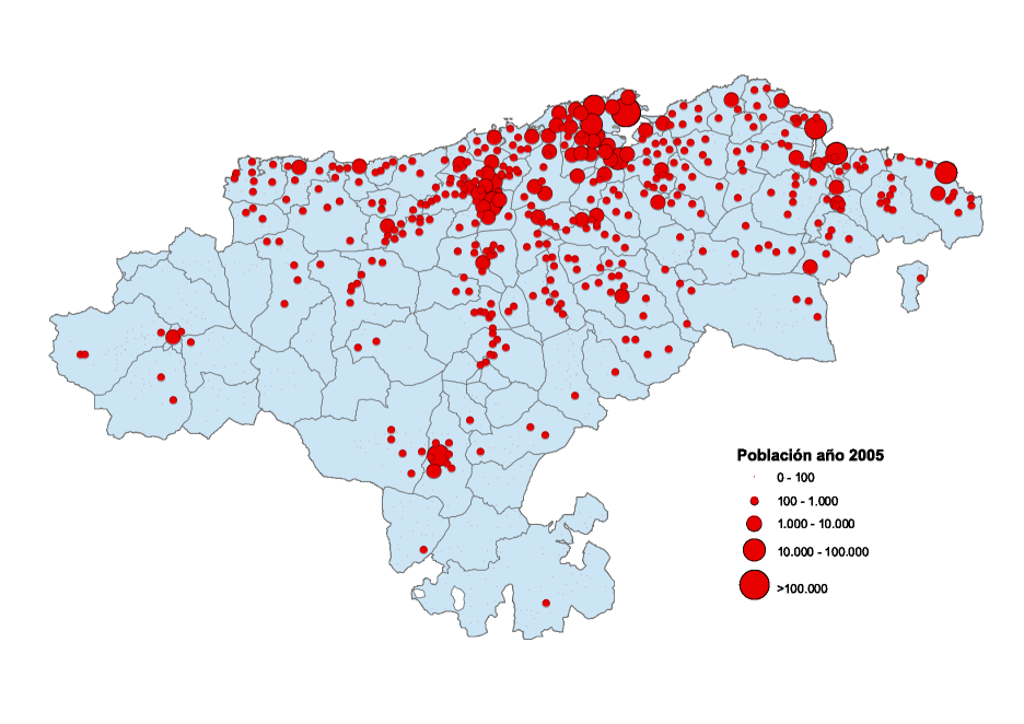 Cantabria population map 2005
