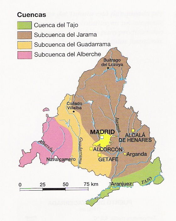 Hydrological map Community of Madrid