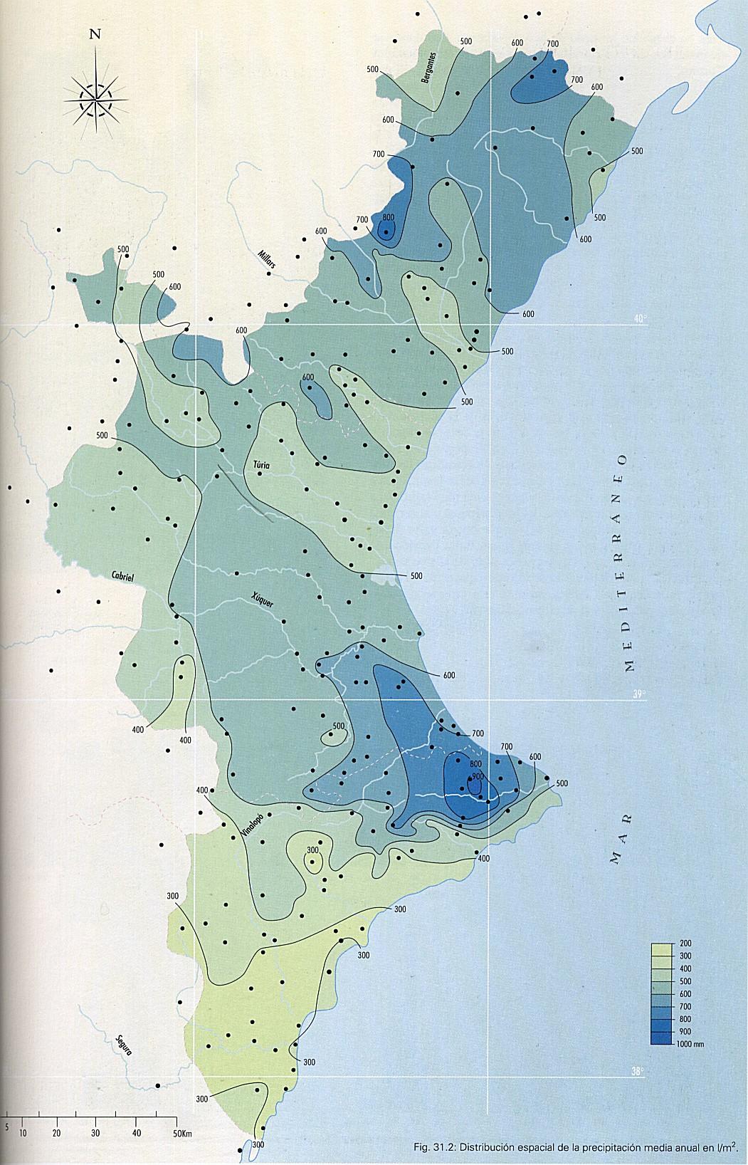 Average annual rainfall in the Valencian Community