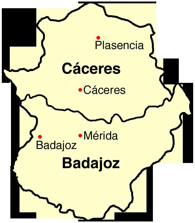 Mapa de Extremadura