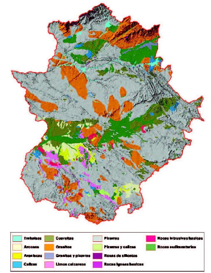 Geological map of Extremadura