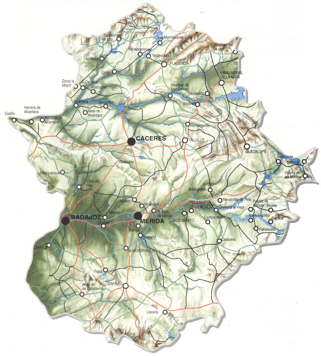 Mapa físico de Extremadura