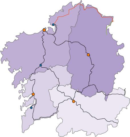 Lineas de ferrocarril en Galicia 2006