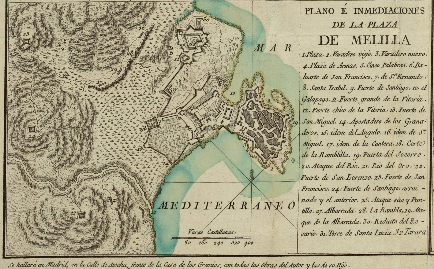 Map and vecinity of the Plaza of Melilla 1793