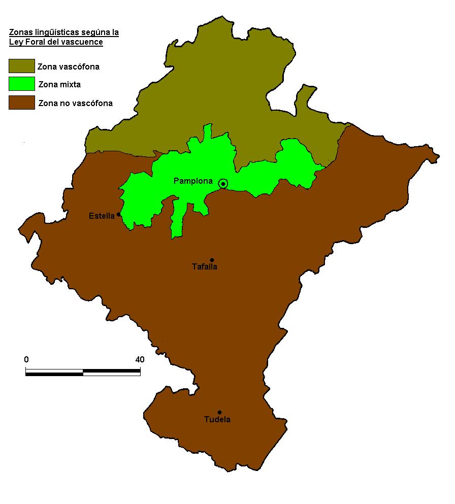Zonas vascófona, mixta y no vascófona en Navarra