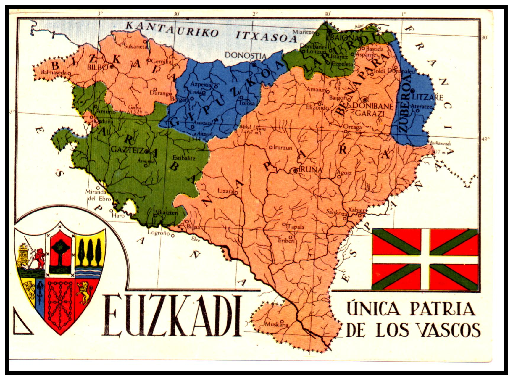 Map of the Basque provinces