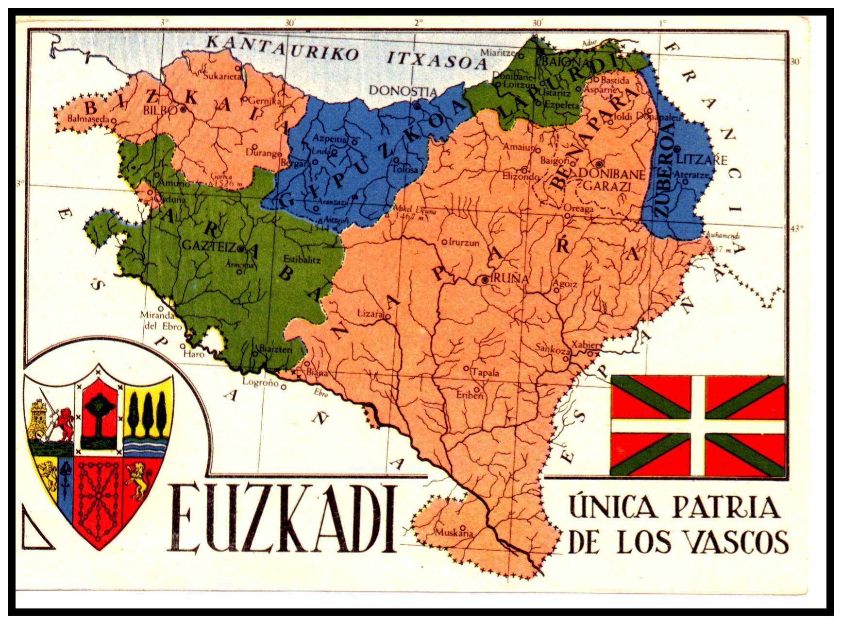 Mapa de las provincias vascas