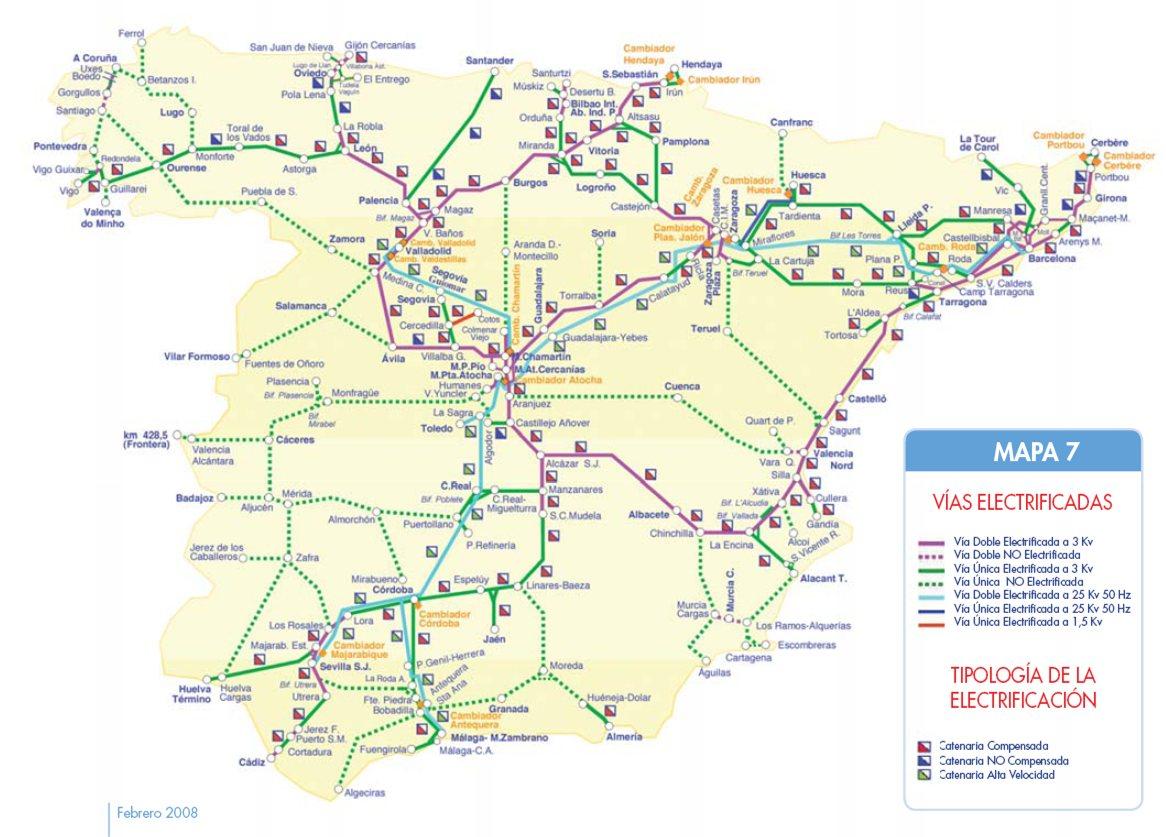 Spain railways map