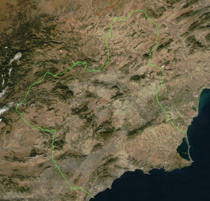 Mapa Satelital  de la Región de Murcia