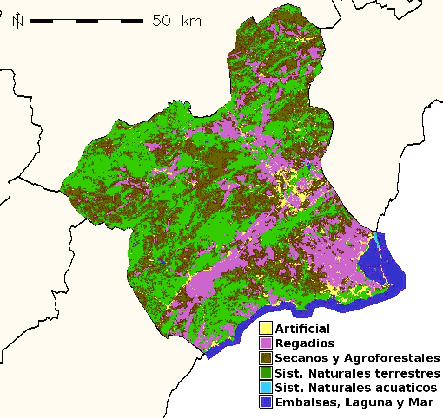 Region of Murcia land use 2000