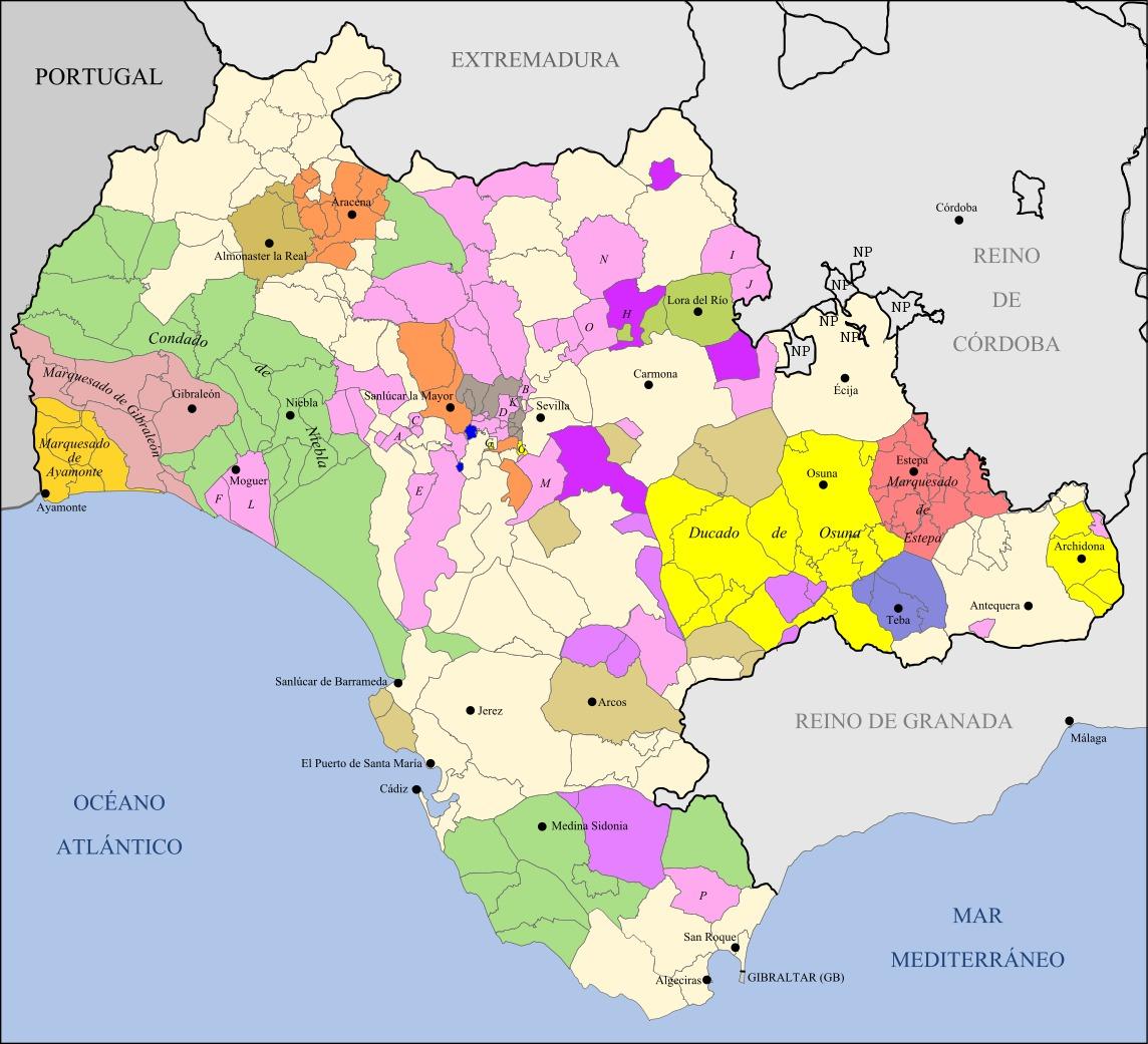 Señoríos del Reino de Sevilla pertenecientes a la actual provincia de Cádiz 1833