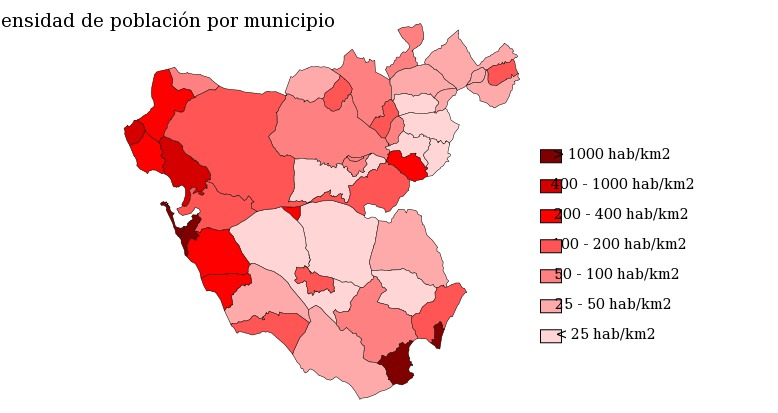 Population density of the province of Cádiz 2007