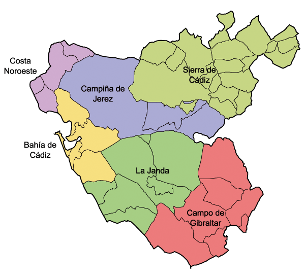 Comarcas of the Province of Cádiz 2007