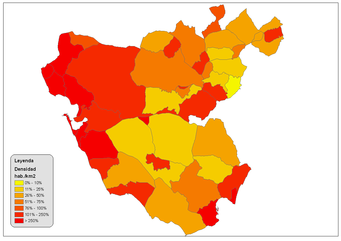 Population density of the province of Cádiz 2008