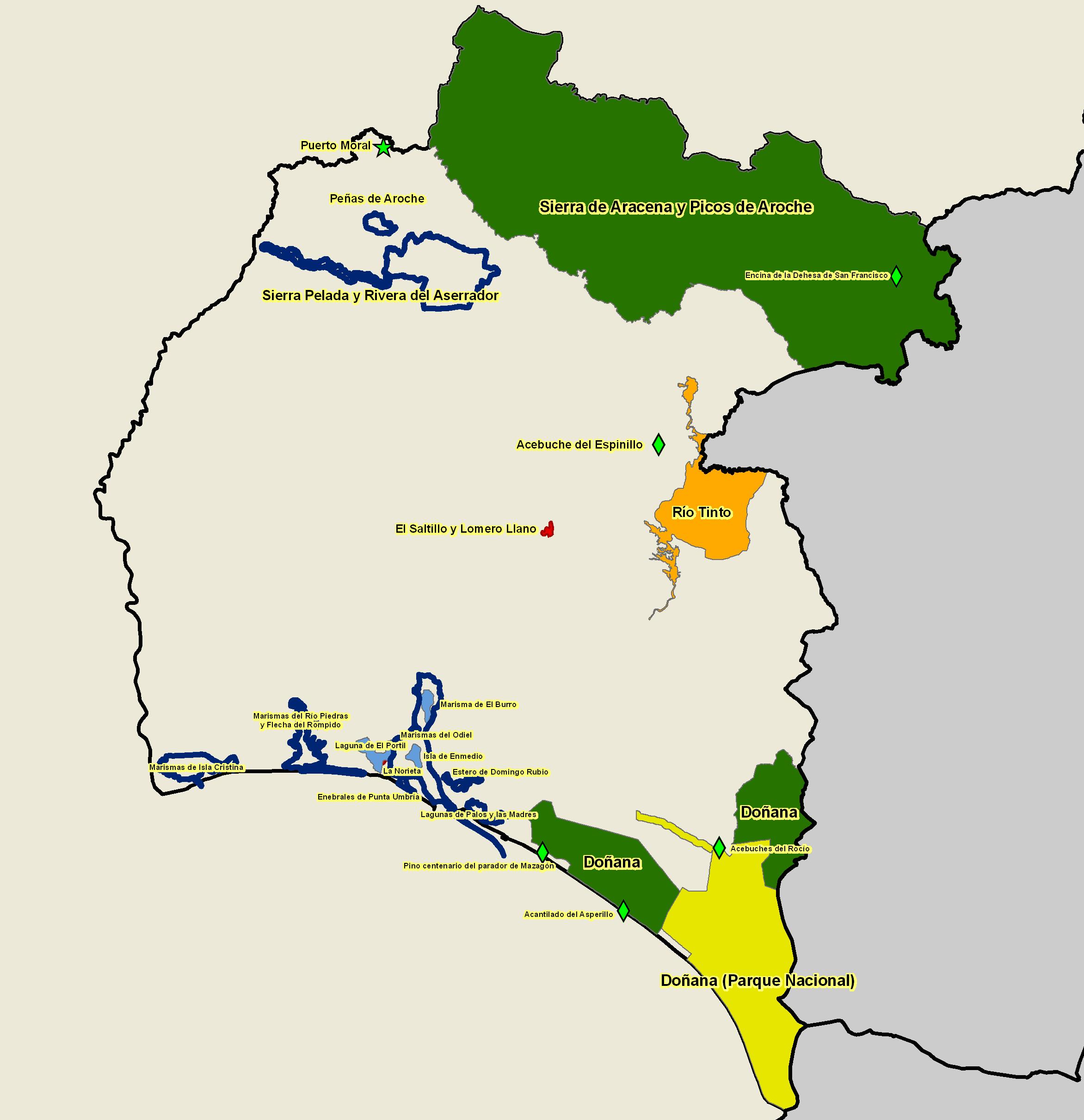 Espacios naturales protegidos en la Provincia de Huelva 2008