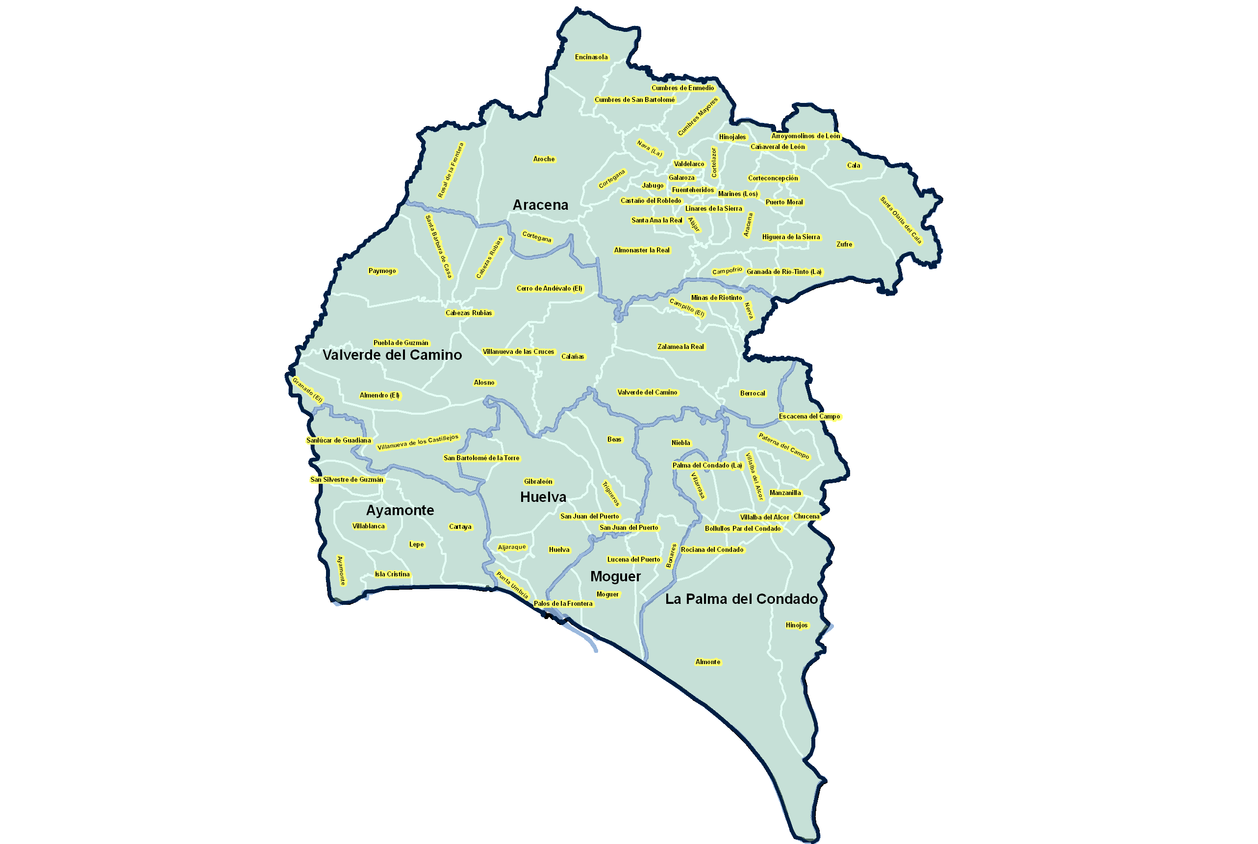 Municipal Districts and Judicial Parties of the Province of Huelva 2008