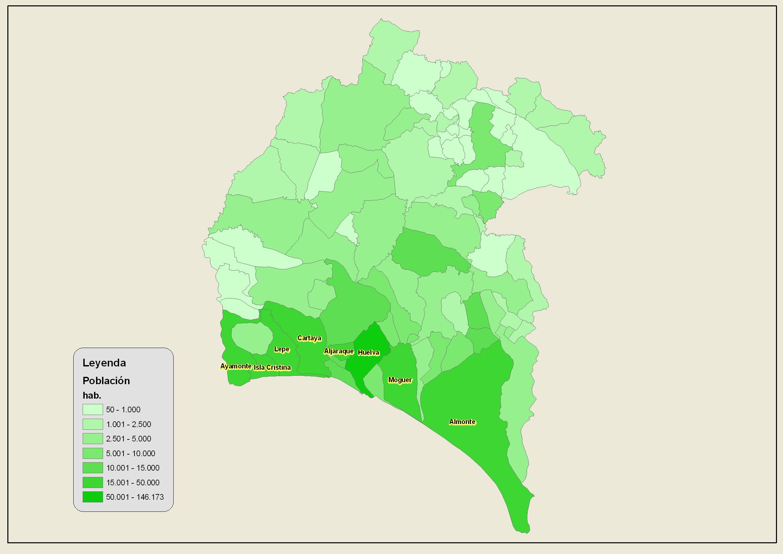 Población de la provincia de Huelva 2007