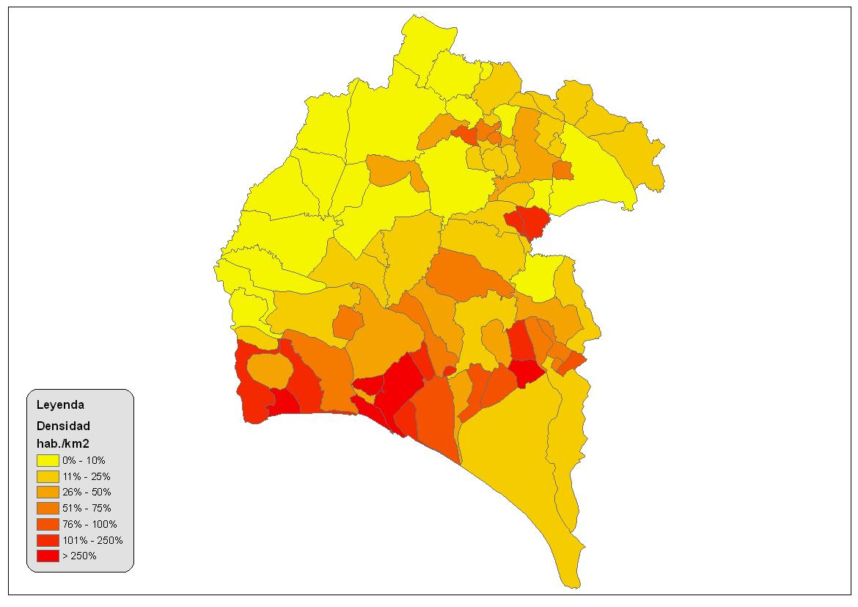 Densidad de población en la provincia de Huelva 2008