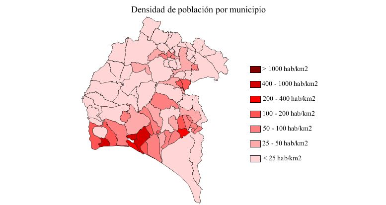 Population of the province of Huelva 2007