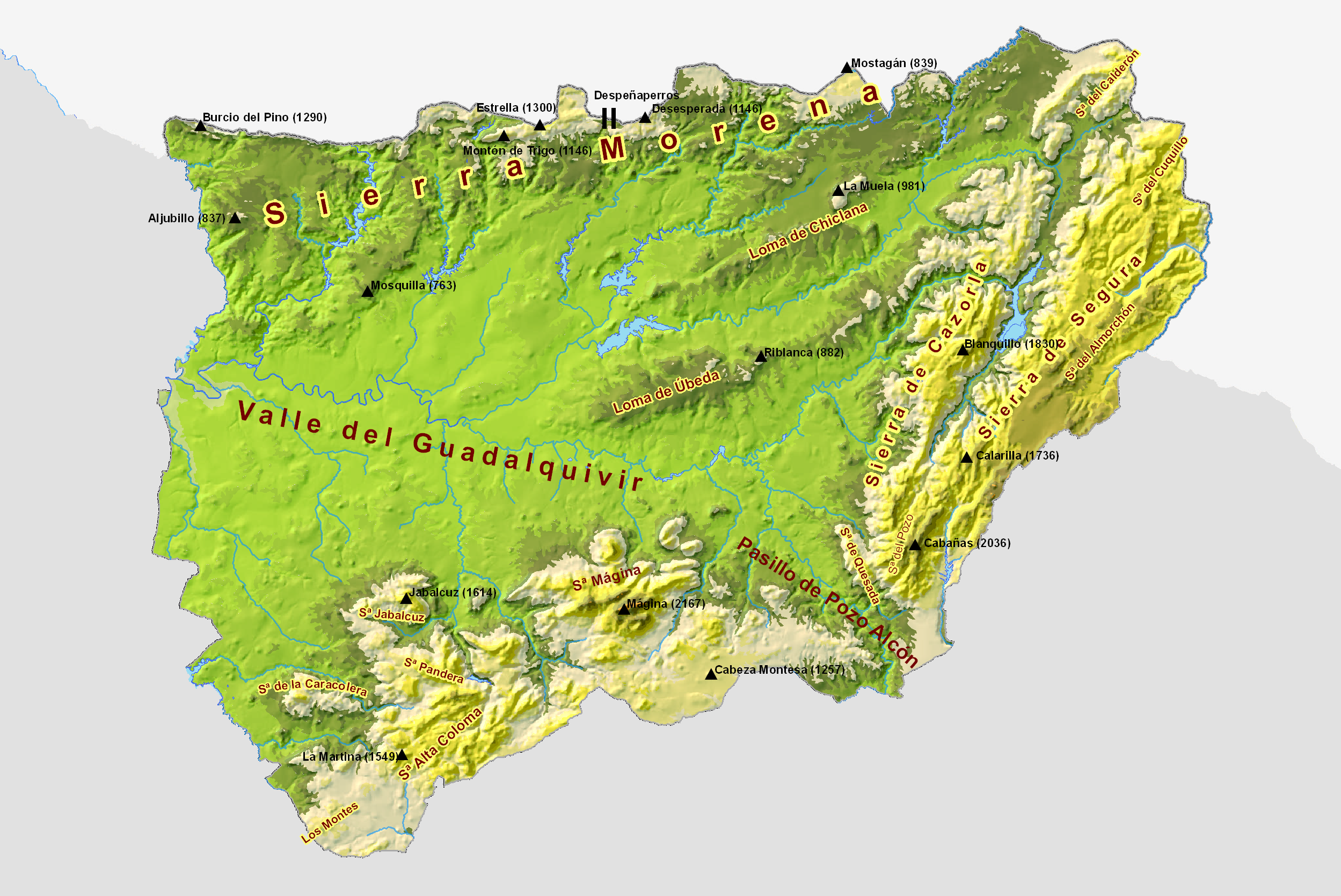Province of Jaén physical map 2009