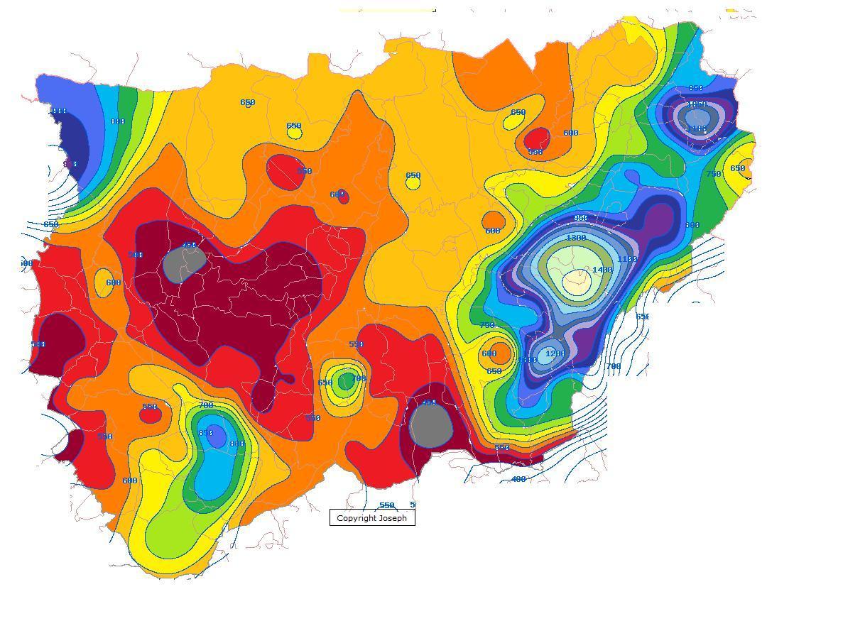 Precipitación media anual en la Provincia de Jaén