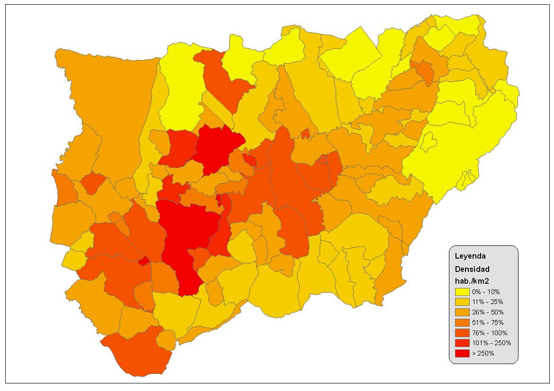Densidad de población de la provincia de Jaén 2008