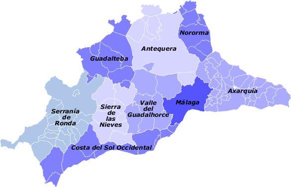 Comarcas de la provincia de Málaga 2009