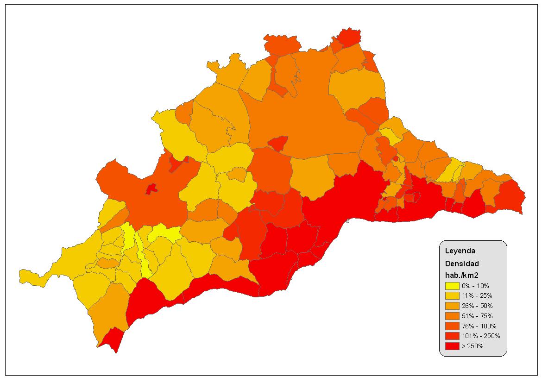 Densidad de población de la provincia de Málaga 2008