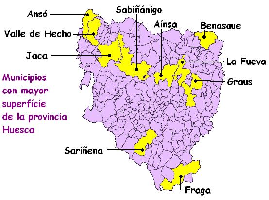 Principales municipios por extensión de la provincia de Huesca