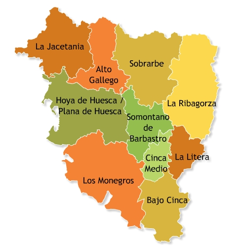 Comarcas of the Province of Huesca