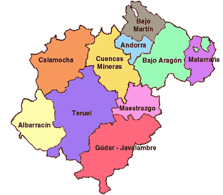 Comarcas of the Province of Teruel