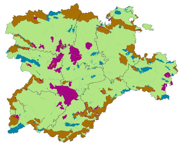 Protected natural areas in the provinces of Castilla y Leon 2008