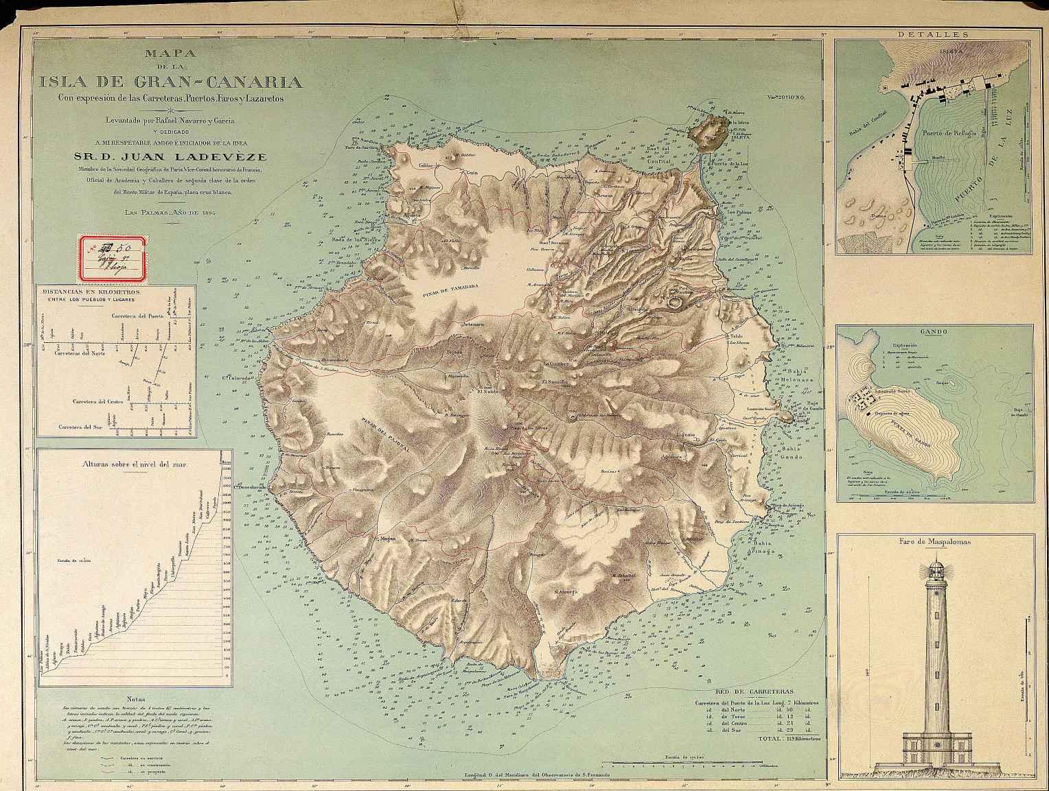 Mapa de la Isla de Gran Canaria 1895