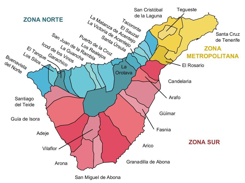 Municipios y zonas de la isla de Tenerife 2011