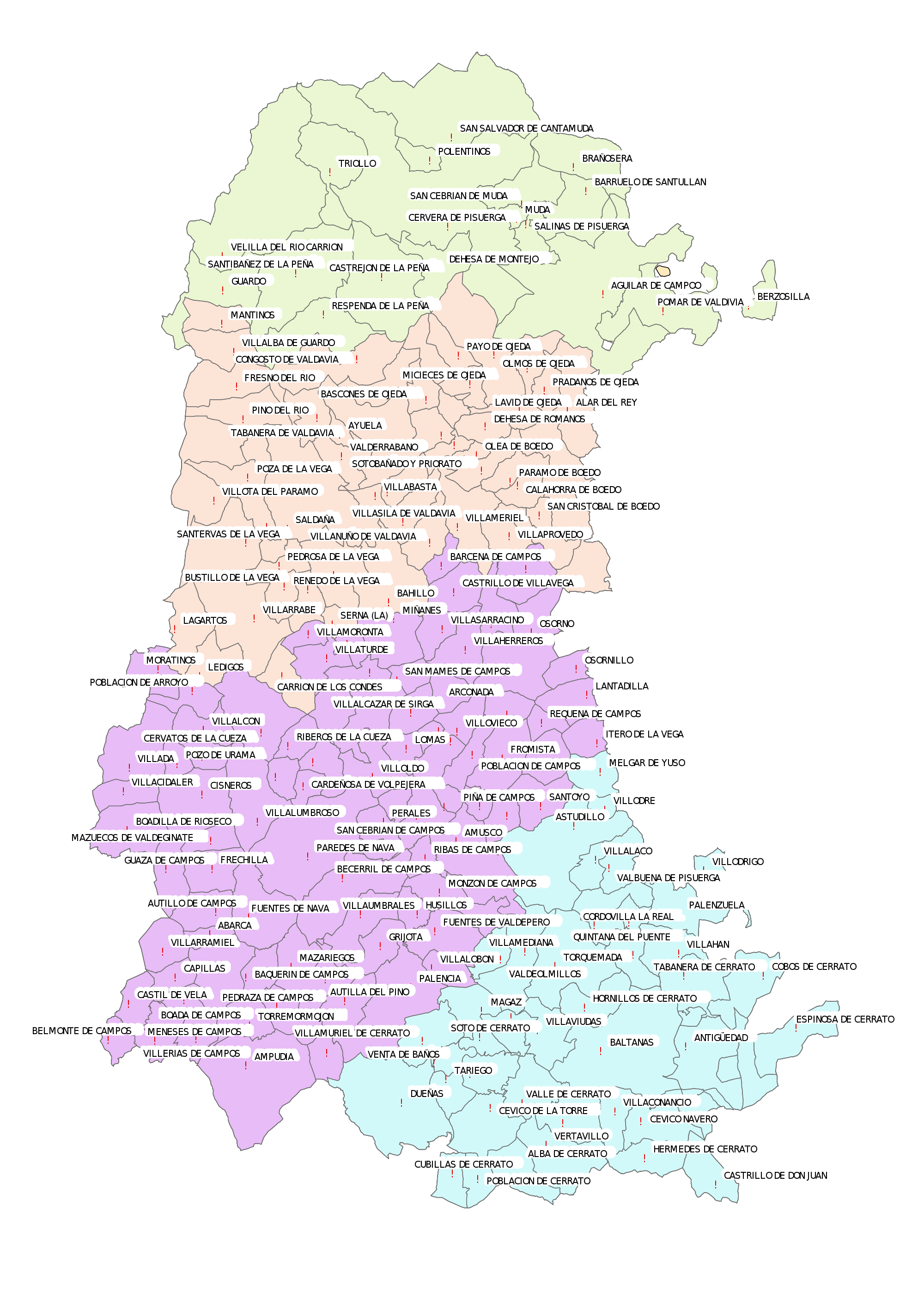 Municipalities with an ayuntamiento in the Province of Palencia 2007