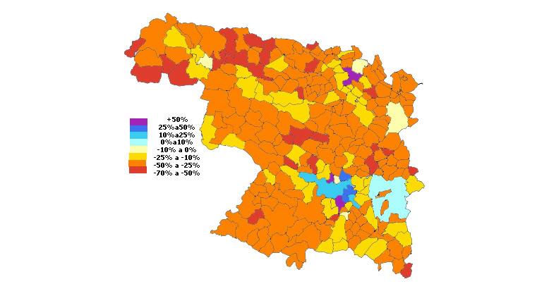 Población de los municipios de Provincia de Zamora entre 1981-2009