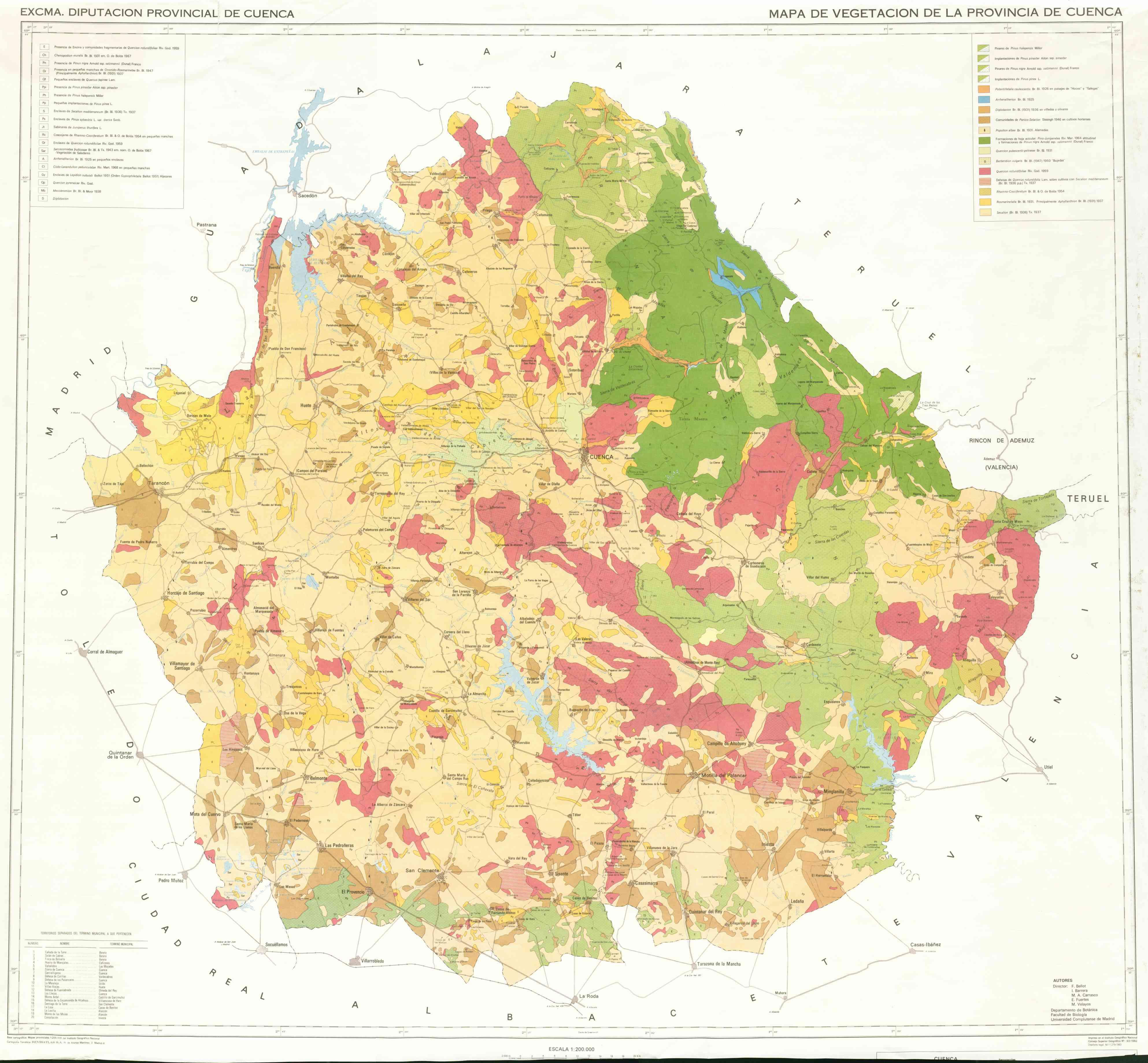 Vegetación de la Provincia de Cuenca 1982