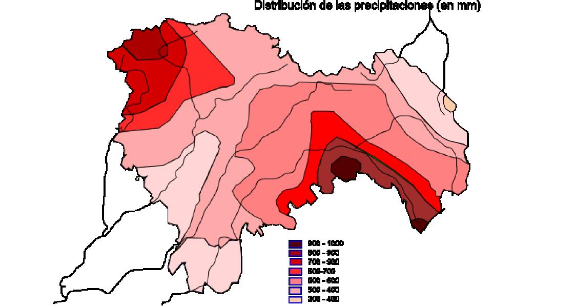 Average yearly precipitation in the Province of Guadalajara 2008