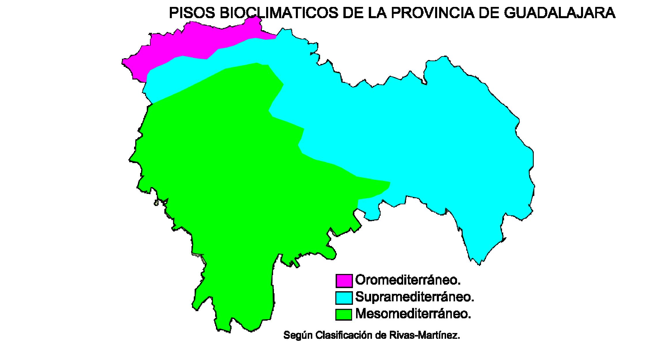 Bioclimatic zones of the province of Guadalajara 2009