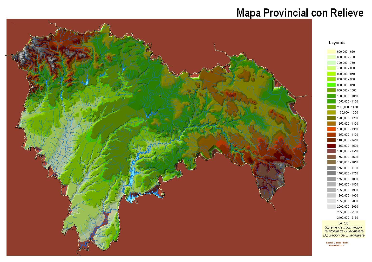 Mapa provincial de Guadalajara con relieve 2005