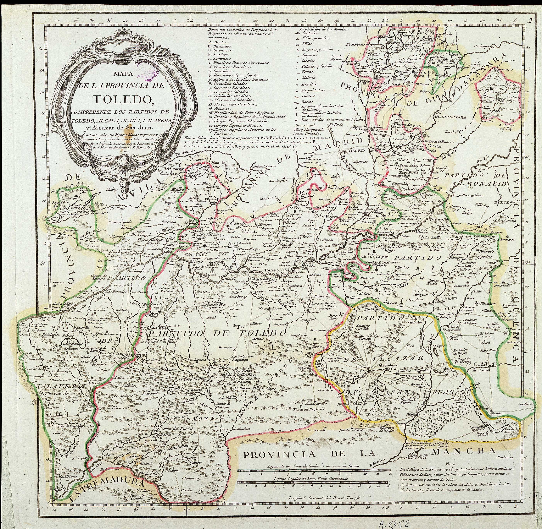 Mapa de la provincia de Toledo 1768