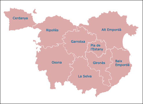 Comarcas of the Province of Girona