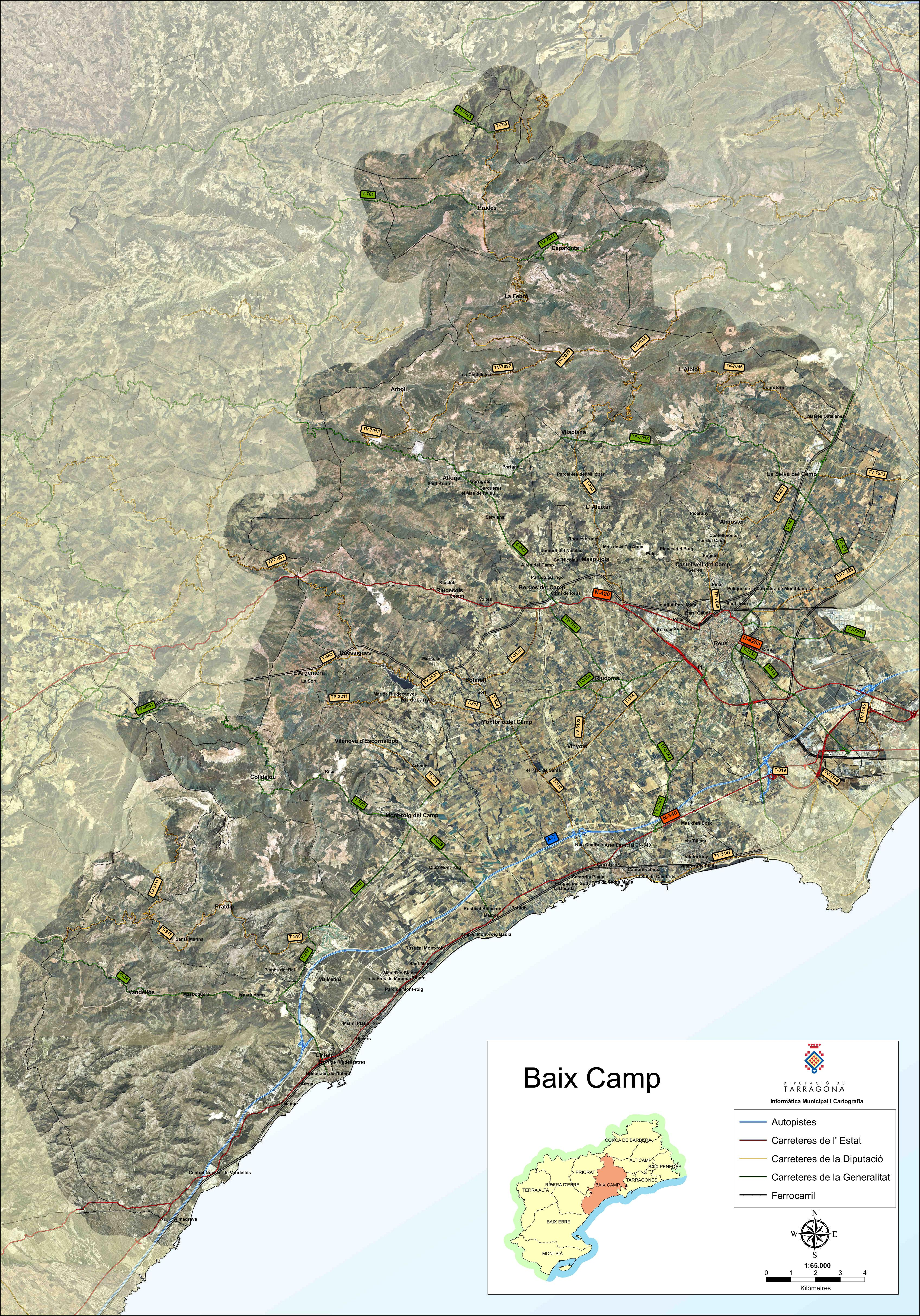 Mapa satelital con carreteras de la comarca de Baix Camp