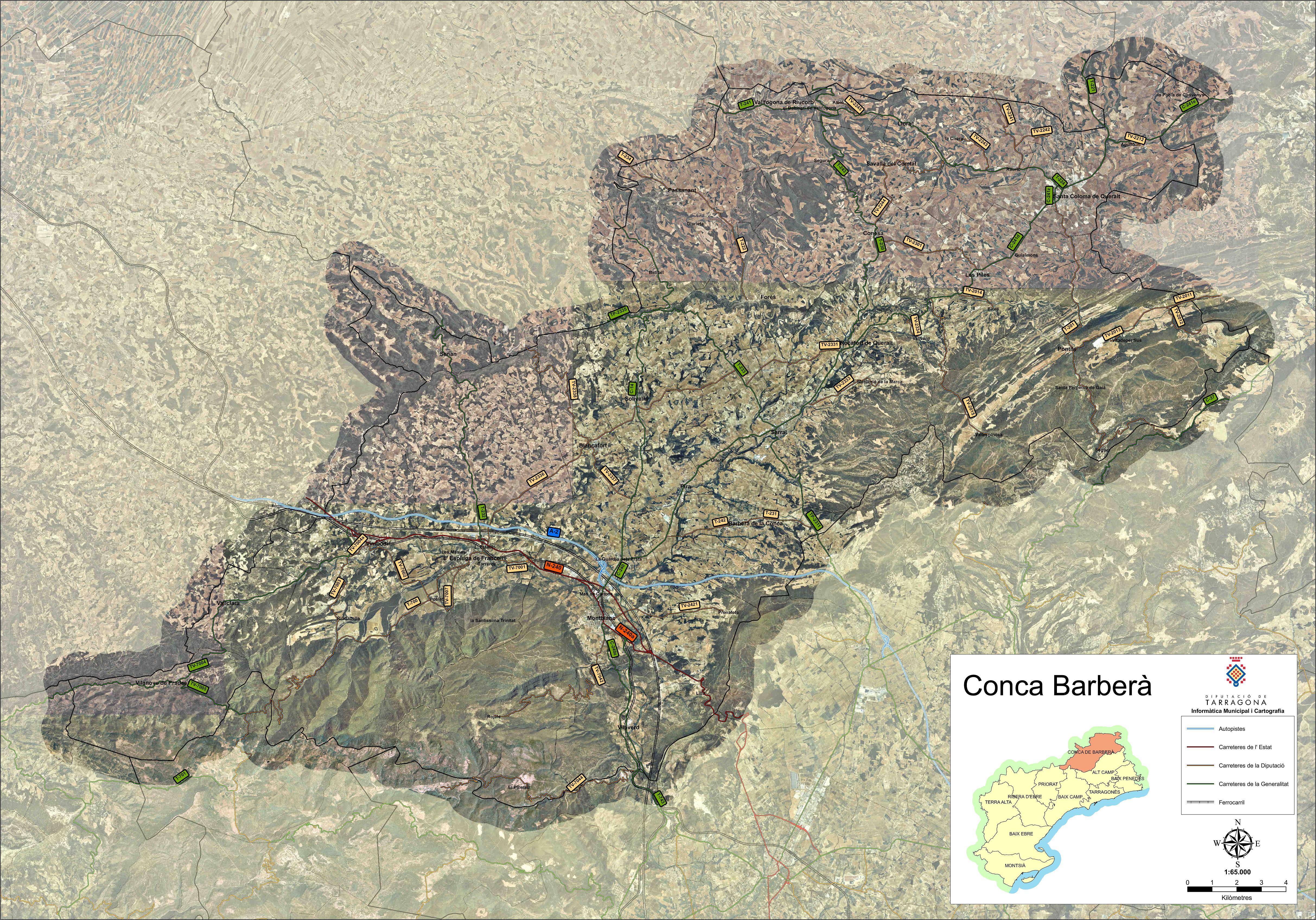 Satellite and road map of the comarca of Conca de Barberà