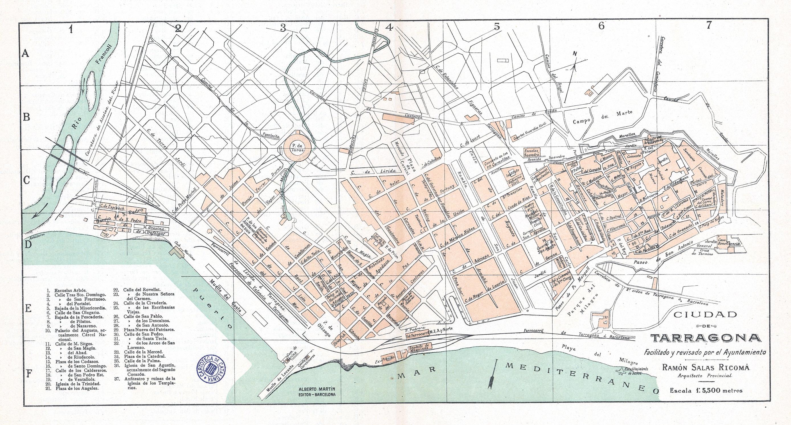 Plano de la ciudad de Tarragona 1900