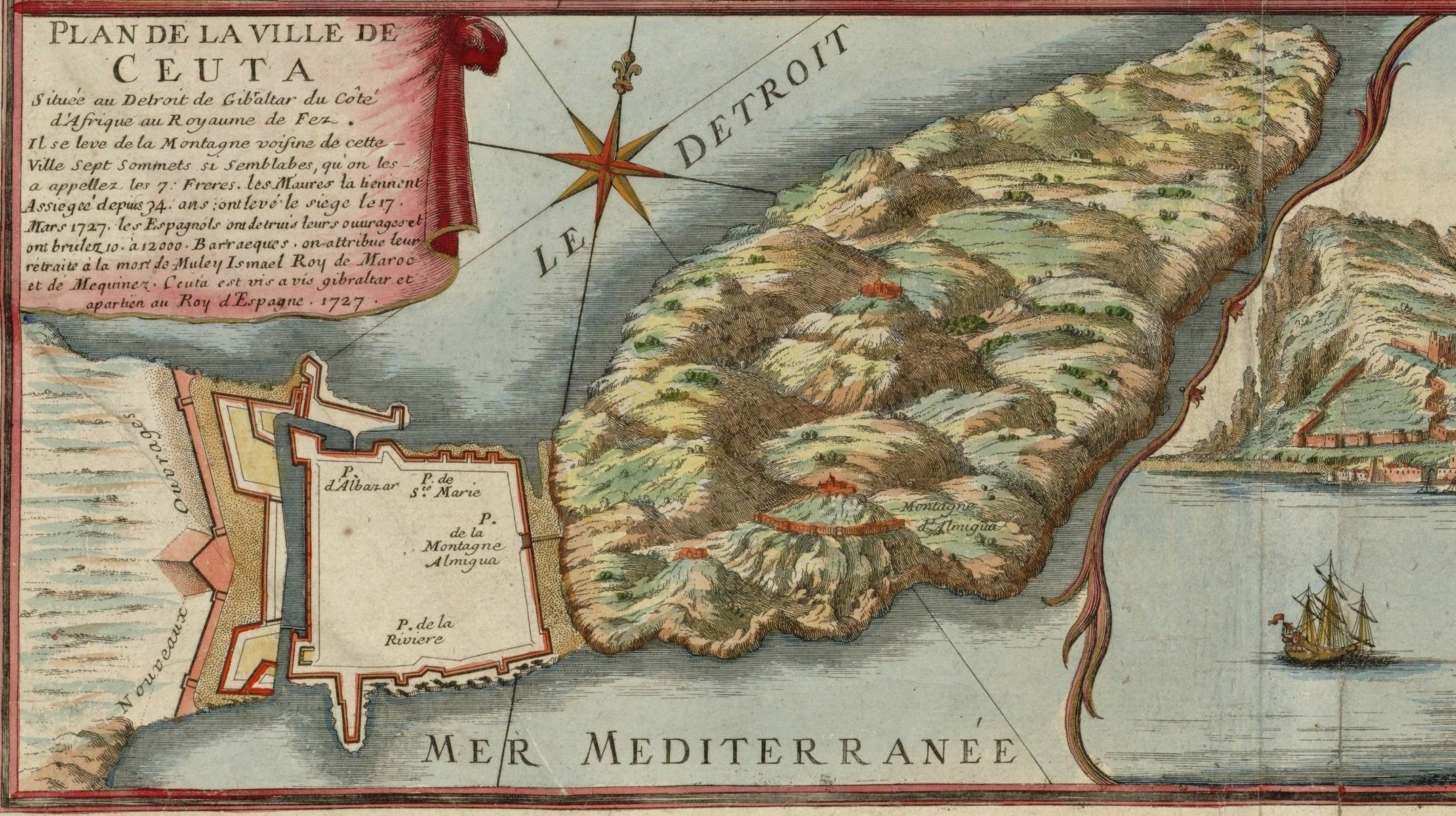 Plano de la ciudad de Ceuta 1727