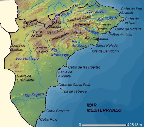 Mapa físico de la provincia de Alicante 2007