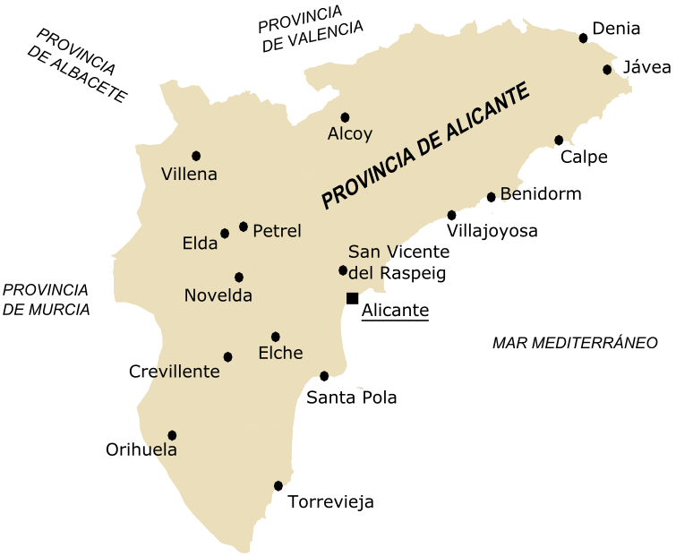 Cities of the province of Alicante 2005